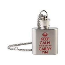 Keep Calm Carry On Bag Flask Necklace
