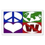 Peace, Earth, Love, Not W bumper sticker
