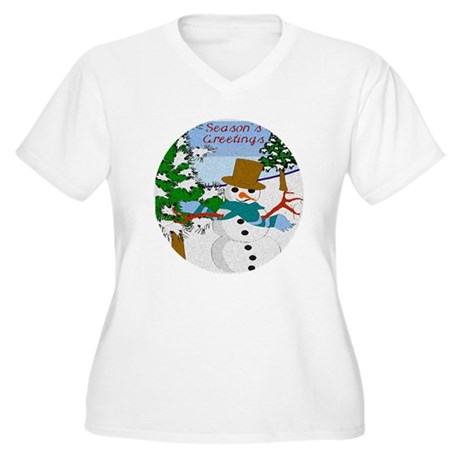 Season's Greetings Women's Plus Size V-Neck T-Shir