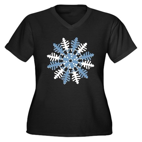 Snowflake Women's Plus Size V-Neck Dark T-Shirt