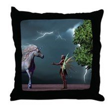 Fairy And Unicorn Throw Pillow