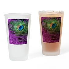 Glittery Purple Peacock Queen Drinking Glass