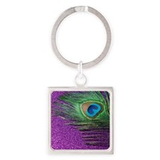 Glittery Purple Peacock King Square Keychain
