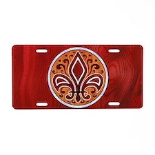 fleur-wood-inlay-OV Aluminum License Plate