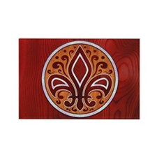 fleur-wood-inlay-OV Rectangle Magnet