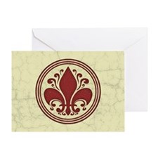 fleur-antique-red-OV Greeting Card