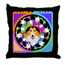 Sheltie Dog Breed Graphics Throw Pillow