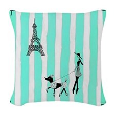 A walk in Paris Turquoise Woven Throw Pillow