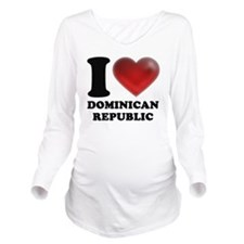 I Heart Dominican Re Long Sleeve Maternity T-Shirt