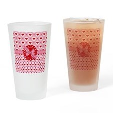 Red Pink Hearts and Bows Drinking Glass