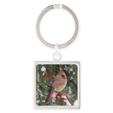 Female cardinal Square Keychain