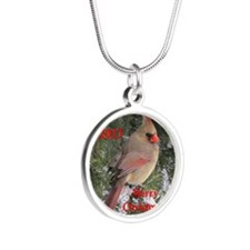 Female cardinal Silver Round Necklace