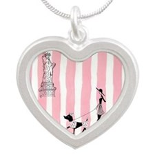 A walk in New York Pink Silver Heart Necklace