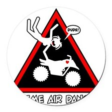 XTREME AIR STICKGIRL danger sign Round Car Magnet