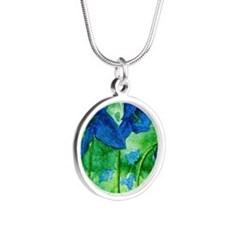 blue bells Silver Round Necklace