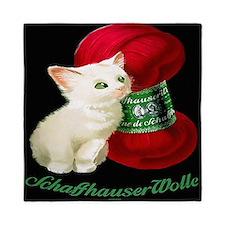 Vintage White Cat Red Yarn Queen Duvet