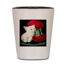Vintage White Cat Red Yarn Shot Glass