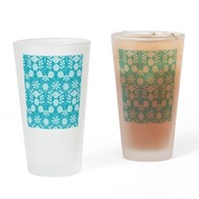 Aqua Flowers Drinking Glass