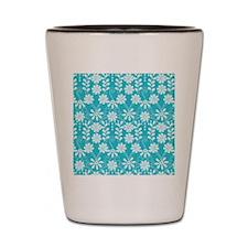 Aqua Flowers Shot Glass