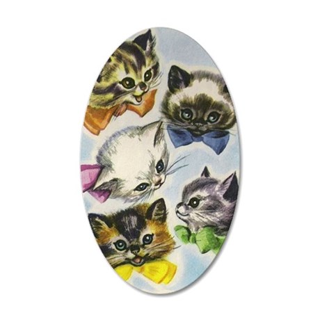 Vintage Kittens in Bow Ties 35x21 Oval Wall Decal