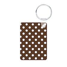 Dotted Chocolate Brown Aluminum Photo Keychain