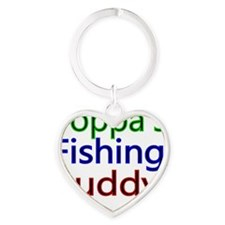 Poppas Fishing Buddy Heart Keychain