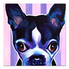 "Boston Terrier #3 Square Car Magnet 3"" x 3"""