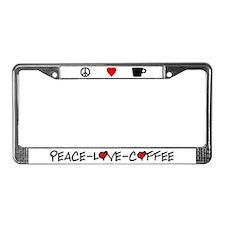 Peace-Love-Coffee License Plate Frame