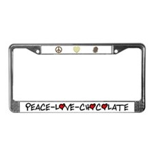 Peace-Love-Chocolate License Plate Frame