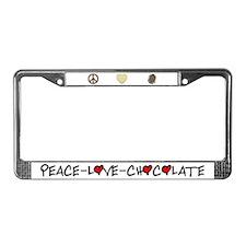 Peace-Love-Chocolate License Plate Frame