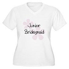 Jr. Bridesmaid Pink Women's Plus V-Neck T-Shirt