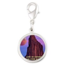 Red Moon at Shiprock Silver Round Charm