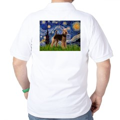 Starry Night - Airedale #6 Golf Shirt