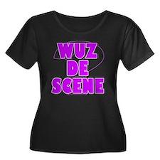 WUZ DE S Women's Plus Size Dark Scoop Neck T-Shirt