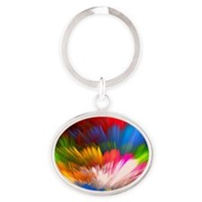 Abstract Clouds Oval Keychain