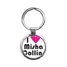 I Love Misha Collins (Pink Heart) Round Keychain