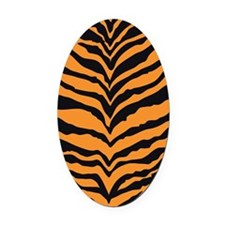 Tiger Print Oval Car Magnet
