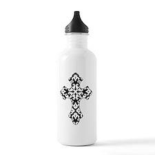 Damask Cross - Black a Water Bottle