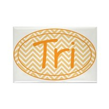 Orange Chevron Triathlon Rectangle Magnet