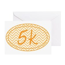 5k Orange Chevron Greeting Card