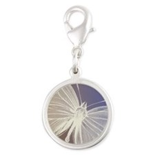 White Butterfly Silver Round Charm
