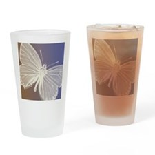 White Butterfly Drinking Glass