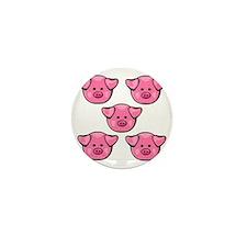 Cute Pink Piggies Mini Button