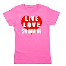 Live Love Swimming Designs Girl's Tee