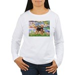 Lilies#2 - Airedale #6 Women's Long Sleeve T-Shirt