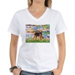 Lilies#2 - Airedale #6 Women's V-Neck T-Shirt