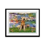 Lilies#2 & Airedale (S) Framed Panel Print
