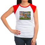 Lilies#2 & Airedale (S) Women's Cap Sleeve T-Shirt