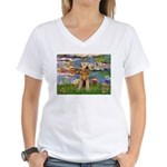 Lilies#2 & Airedale (S) Women's V-Neck T-Shirt