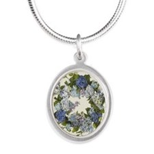 BLUE HYDRANGEA Silver Oval Necklace